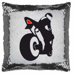 Подушка-хамелеон Мотоцикліст на спорті