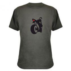Камуфляжная футболка Мотоциклист на спорте - FatLine