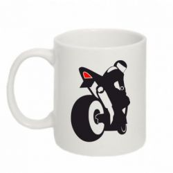 Кружка 320ml Мотоциклист на спорте - FatLine