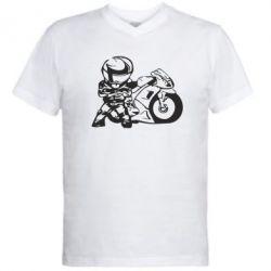 Мужская футболка  с V-образным вырезом Мотоциклист - FatLine