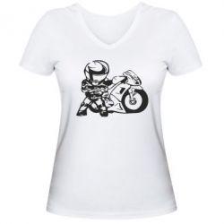 Женская футболка с V-образным вырезом Мотоциклист - FatLine
