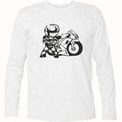 Футболка с длинным рукавом Мотоциклист - FatLine