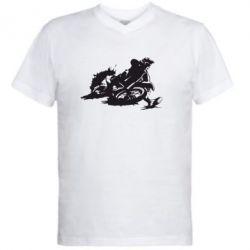 Мужская футболка  с V-образным вырезом Мотокросс лого - FatLine