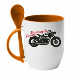 Кружка з керамічною ложкою Motorcycle forever