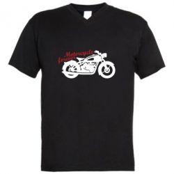 Чоловіча футболка з V-подібним вирізом Motorcycle forever