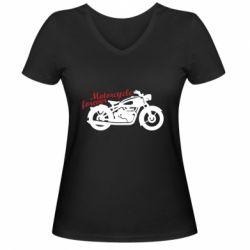 Жіноча футболка з V-подібним вирізом Motorcycle forever