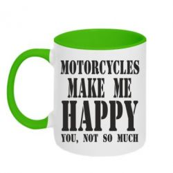 Кружка двухцветная Motorcycles make me happy you not so much - FatLine