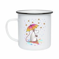 Кружка емальована Mouse and rain
