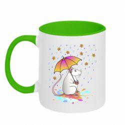 Кружка двоколірна 320ml Mouse and rain