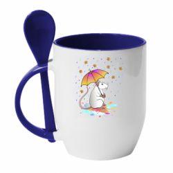 Кружка з керамічною ложкою Mouse and rain