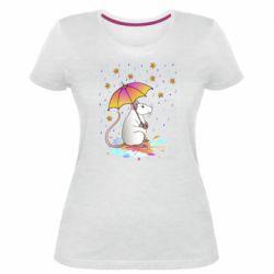 Жіноча стрейчева футболка Mouse and rain