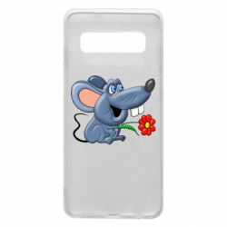 Чехол для Samsung S10 Mouse with a flower
