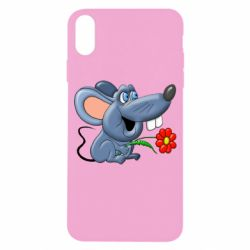 Чехол для iPhone X/Xs Mouse with a flower
