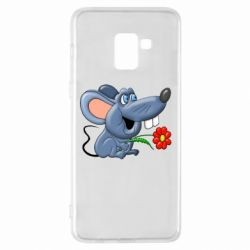Чехол для Samsung A8+ 2018 Mouse with a flower