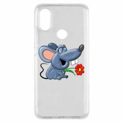 Чехол для Xiaomi Mi A2 Mouse with a flower