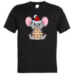 Мужская футболка  с V-образным вырезом Mouse with cookies