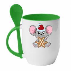 Кружка с керамической ложкой Mouse with cookies