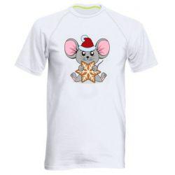 Мужская спортивная футболка Mouse with cookies