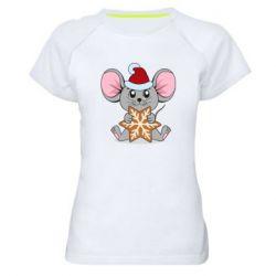 Женская спортивная футболка Mouse with cookies