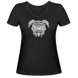 Женская футболка с V-образным вырезом Mr. Pickles Art - FatLine