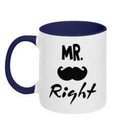 Кружка двухцветная Mr. right