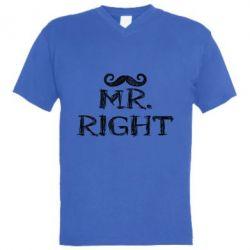 Мужская футболка  с V-образным вырезом Mr