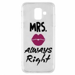 Купить Парные для влюбленных, Чехол для Samsung A6 2018 Mrs. always right, FatLine