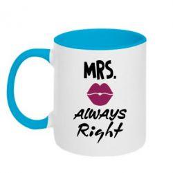 Кружка двухцветная Mrs. always right