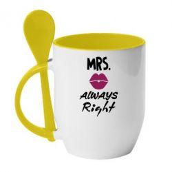 Кружка с керамической ложкой Mrs. always right