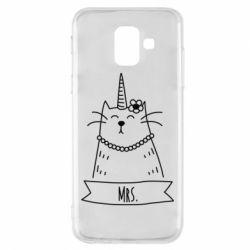 Купить Парные для влюбленных, Чехол для Samsung A6 2018 Mrs. Cat, FatLine