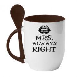Кружка с керамической ложкой Mrs
