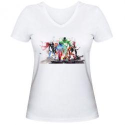 Женская футболка с V-образным вырезом Мстители Арт - FatLine