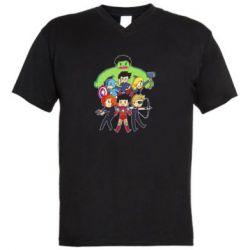 Мужская футболка  с V-образным вырезом Мститети в сборе - FatLine
