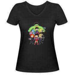 Женская футболка с V-образным вырезом Мститети в сборе