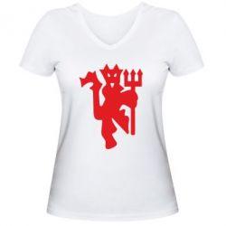 Женская футболка с V-образным вырезом MU