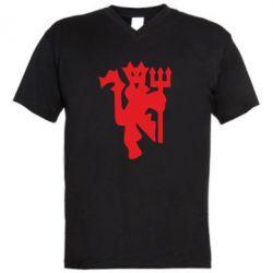 Мужская футболка  с V-образным вырезом MU