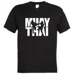 Мужская футболка  с V-образным вырезом Муай Тай - FatLine