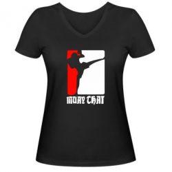 Женская футболка с V-образным вырезом Muay Thai Champion - FatLine