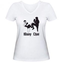 Женская футболка с V-образным вырезом Muay Thai Fighters - FatLine