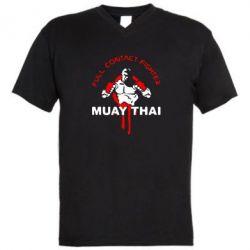 Мужская футболка  с V-образным вырезом Muay Thai Full Contact - FatLine
