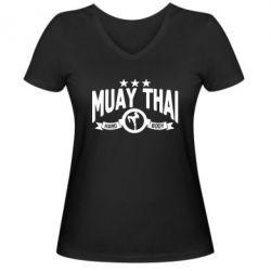 Женская футболка с V-образным вырезом Muay Thai Hard Body