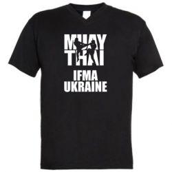 Мужская футболка  с V-образным вырезом Muay Thai IFMA Ukraine