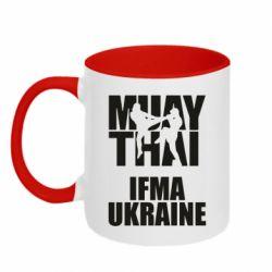 Кружка двухцветная 320ml Muay Thai IFMA Ukraine