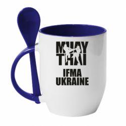 Кружка с керамической ложкой Muay Thai IFMA Ukraine