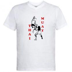 Мужская футболка  с V-образным вырезом Muay Thai Jump - FatLine