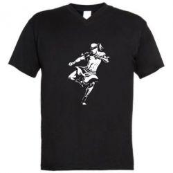 Мужская футболка  с V-образным вырезом Muay Thai Low Kick - FatLine