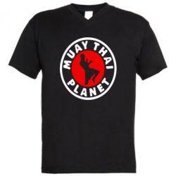 Мужская футболка  с V-образным вырезом Muay Thai Planet - FatLine