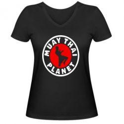 Женская футболка с V-образным вырезом Muay Thai Planet - FatLine