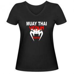 Женская футболка с V-образным вырезом Muay Thai Venum Fighter - FatLine