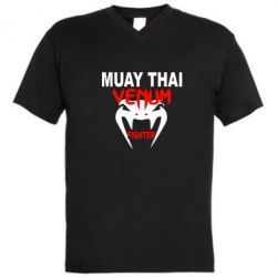 Мужская футболка  с V-образным вырезом Muay Thai Venum Fighter - FatLine